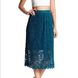 Mid Length Lace Skirt with Scalloped Hem